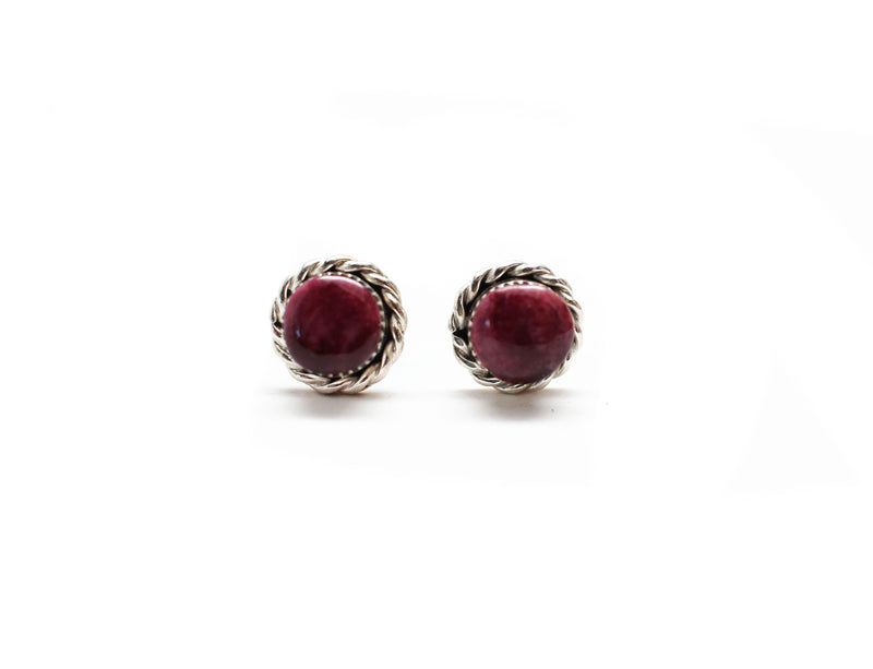 Round Studs - Double Twist Purple Spiny
