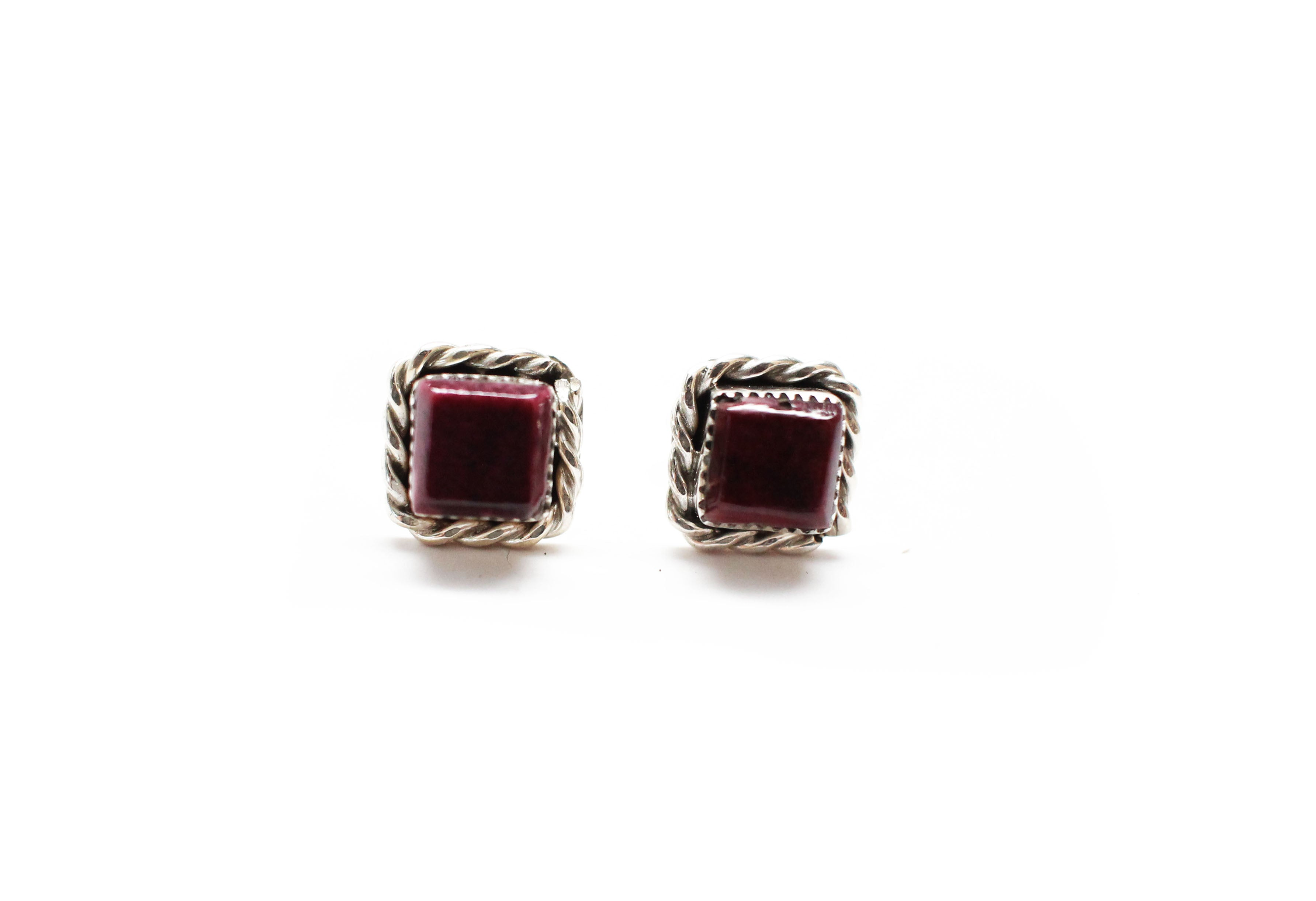 Square Studs - Purple Spiny Oyster