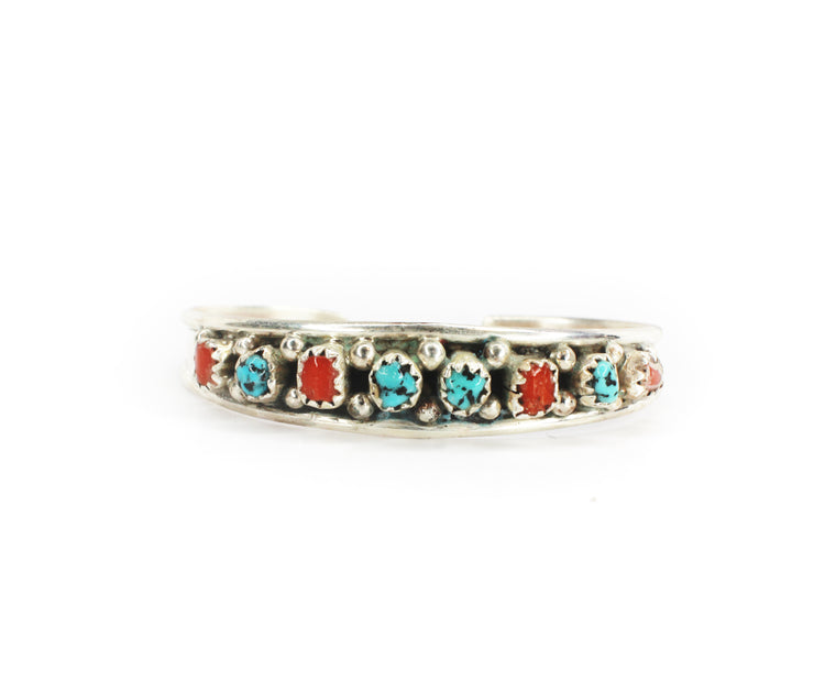 The Swazy Baby Cuff 8 Stone - Coral & Turquoise
