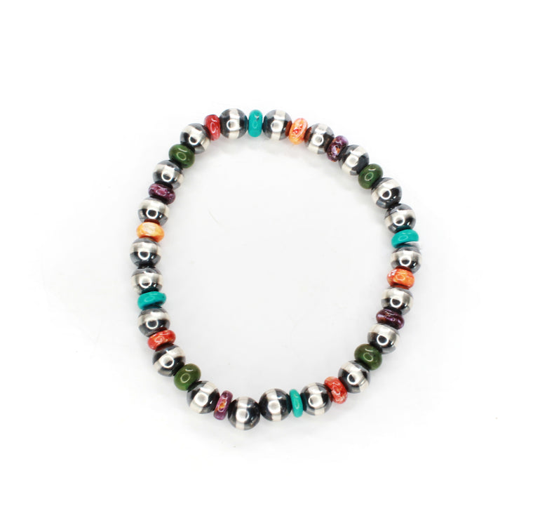 Navajo Pearl Stretch Bracelet - Multi