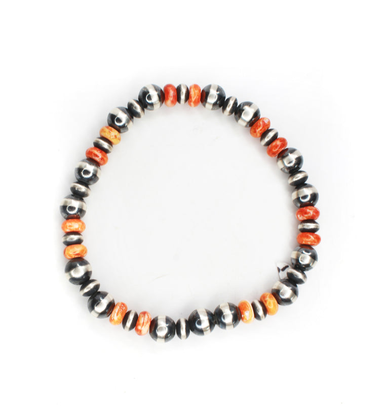 Navajo Pearl Stretch Bracelet - Orange Spiny Oyster