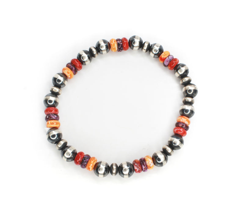 Navajo Pearl Stretch Bracelet - Red, Orange & Purple Spiny Oyster