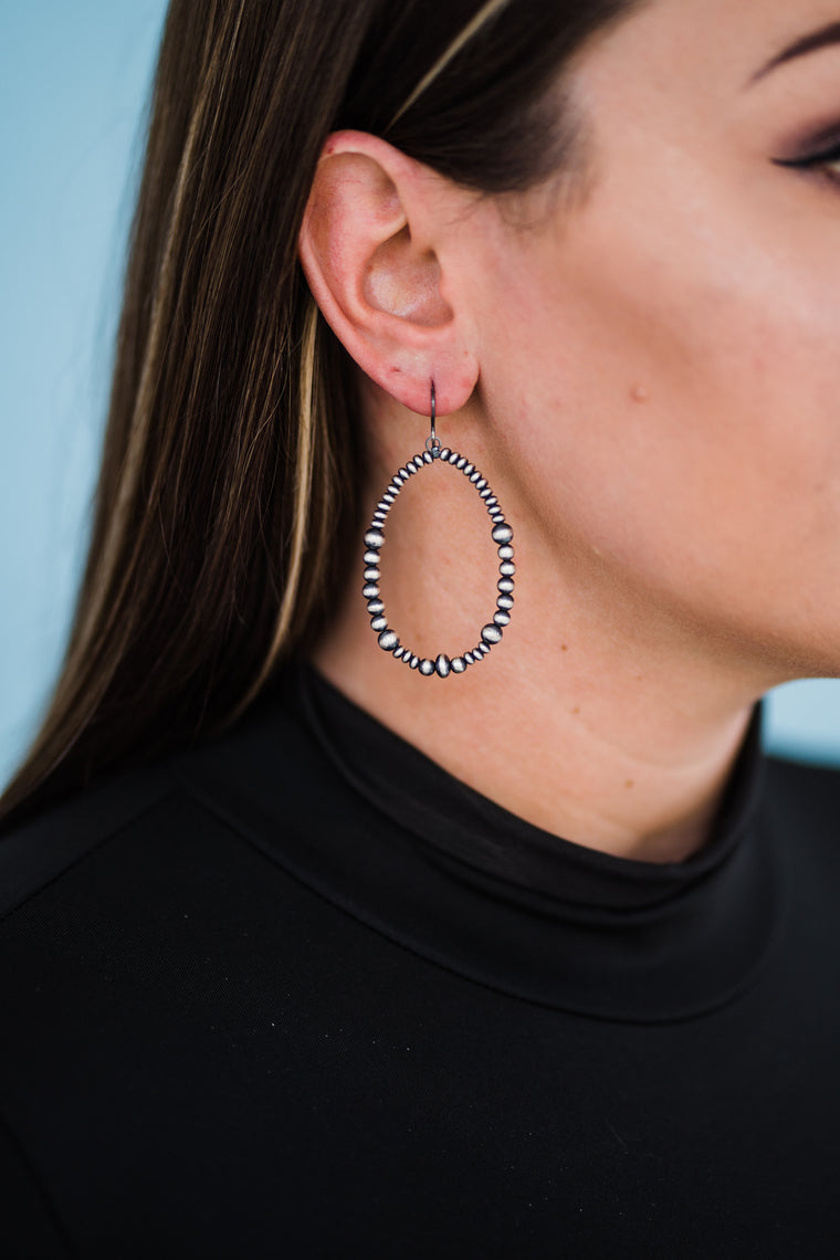 "3"" Navajo Pearl Drop Hoop Earrings"