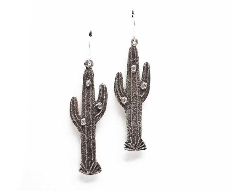 Sandcast Cactus Earrings