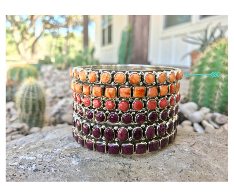 Orange Spiny Oyster Bangle - 8mm Round