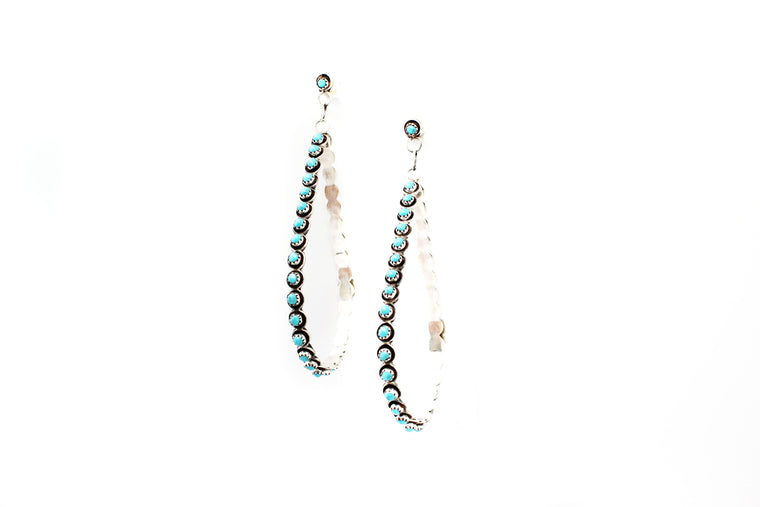 Turquoise Drop Hoops - Extra Large