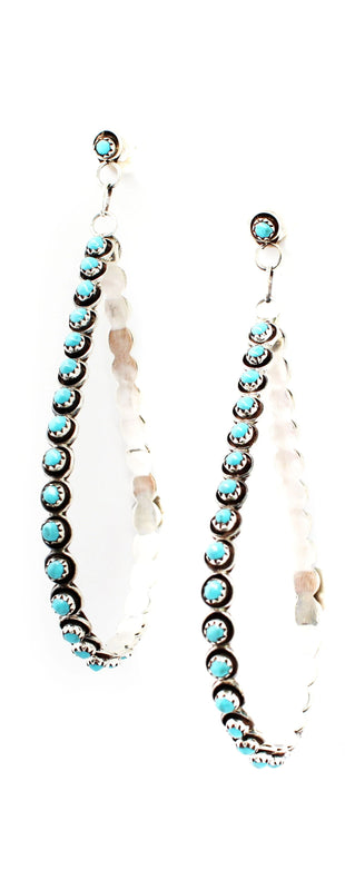 Turquoise Drop Hoops - Large