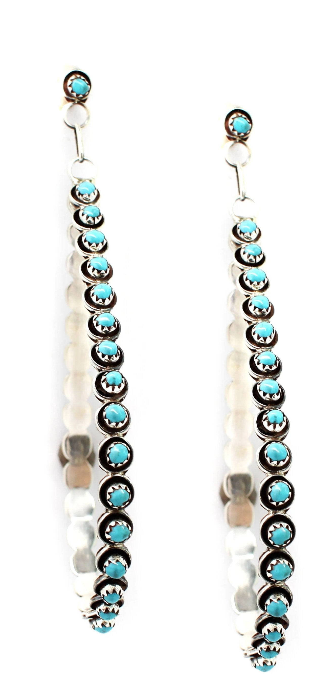 Large Turquoise Drop Hoops