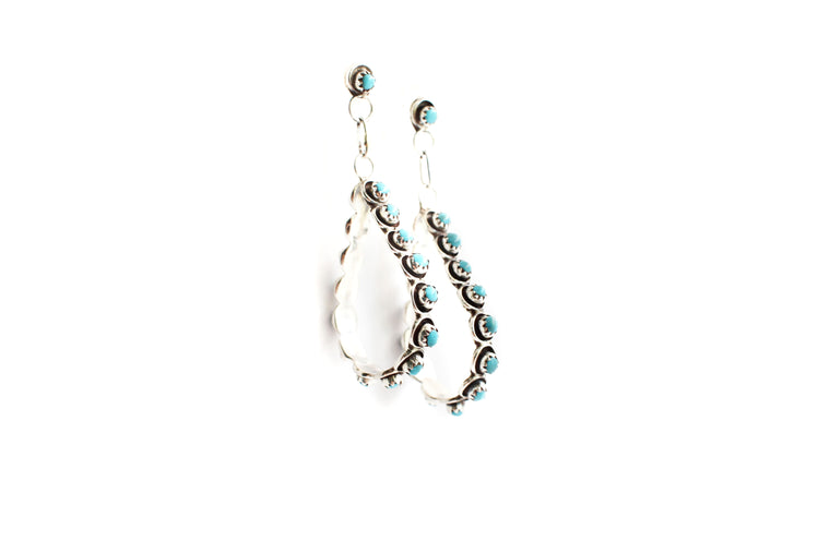 Turquoise Drop Hoops - Small