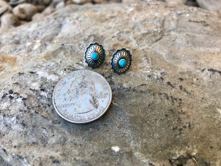 The Concho Studs - Turquoise