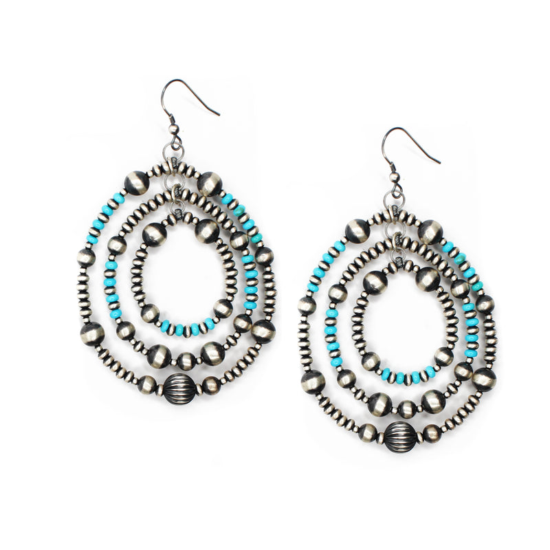 "3 1/4"" 3 Hoop Navajo Pearl Earrings - Turquoise"