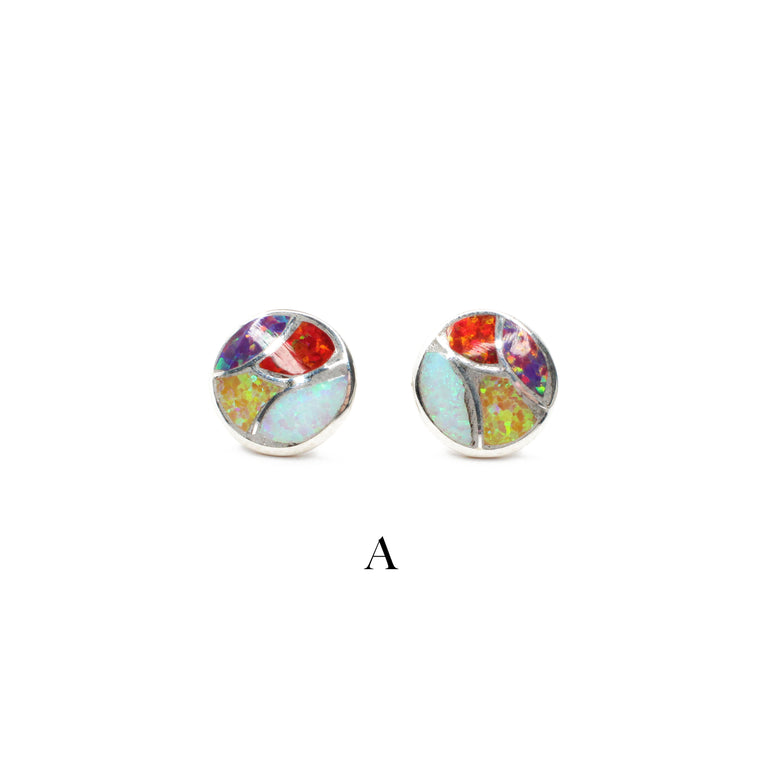 Multi Color Round Opal Studs