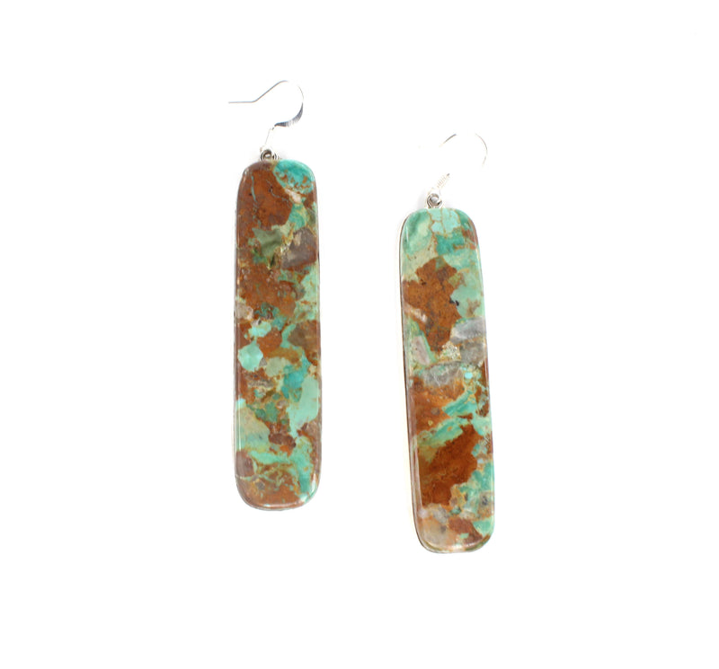 Turquoise & Sterling Slab Earrings
