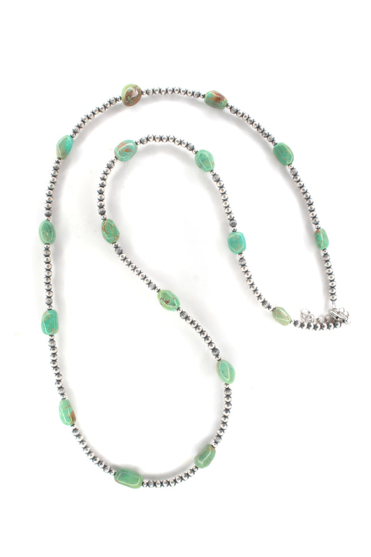 4 mm Navaho Pearl and Turquoise Neckalce-32""