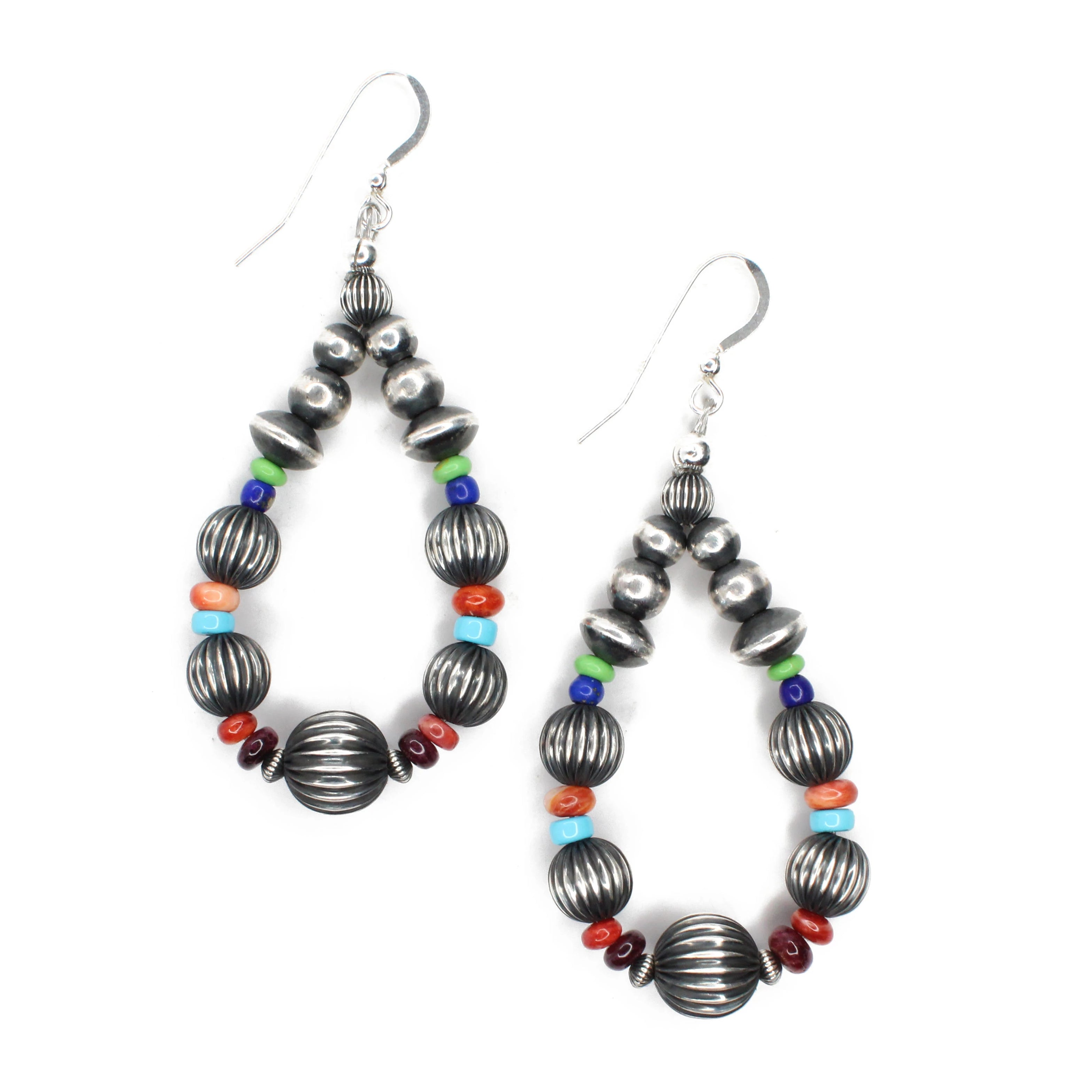 "3"" Navajo Pearl Drop Hoops - Multi"