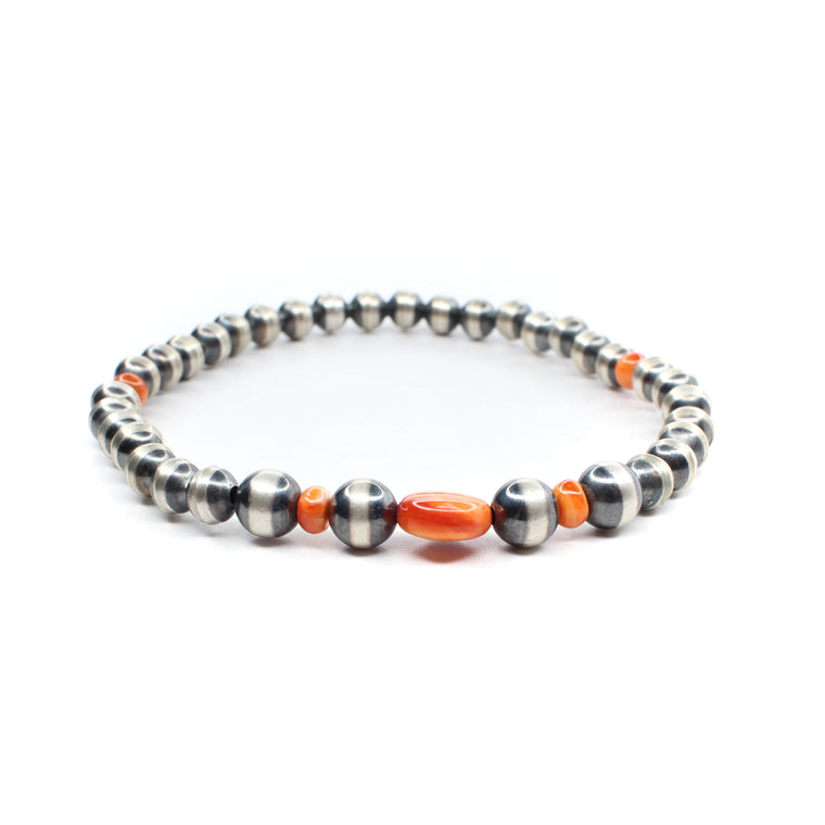 Navajo Pearl & Orange Spiny Stretch Bracelet