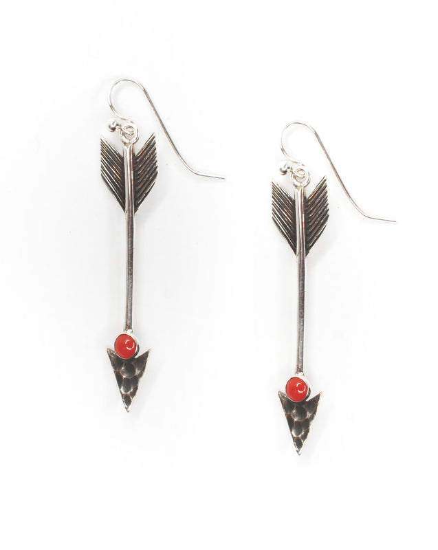 Follow your Arrow Earrings- Red Coral