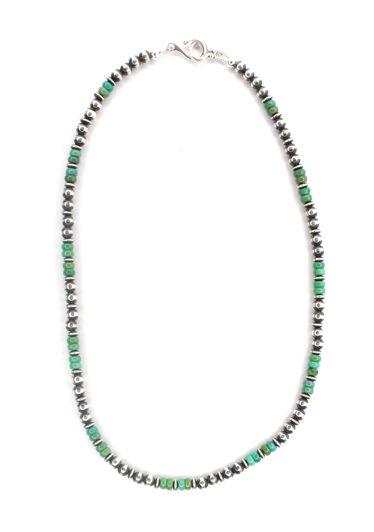 5mm Textured Navajo Pearls - Green Kingman