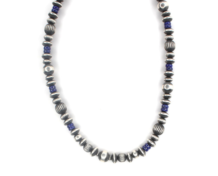 "36"" Navajo Pearls - Lapis (6mm-8mm)"