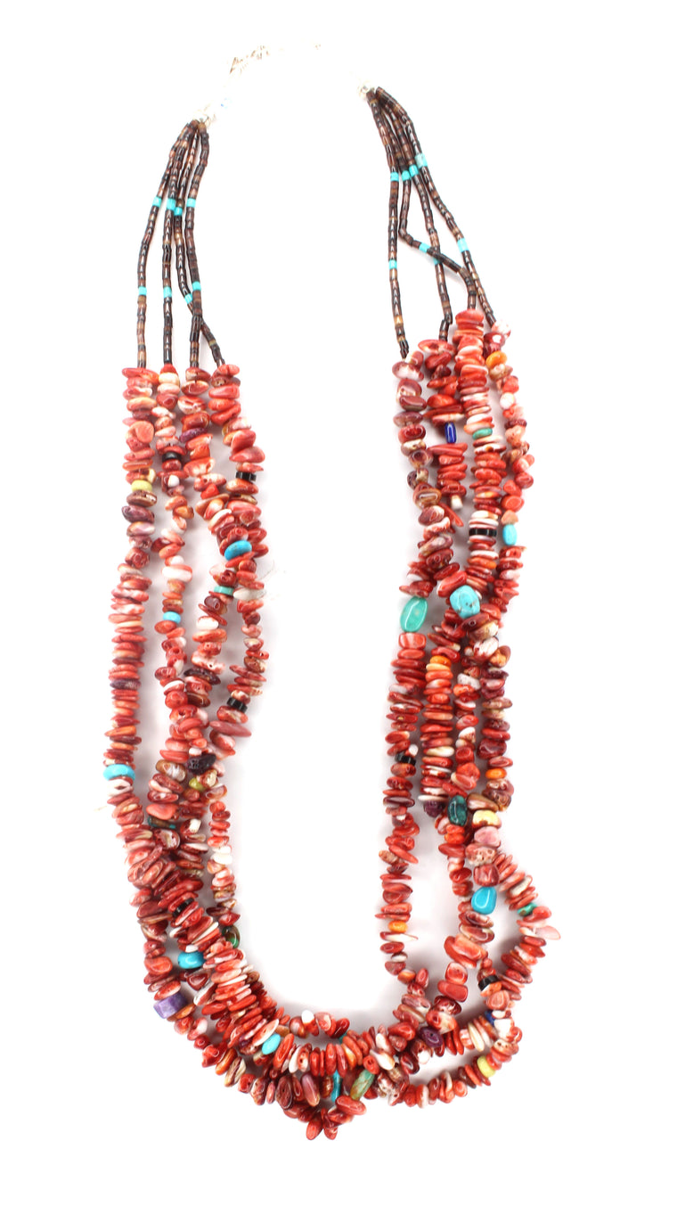 4 Strand Red Spiny Oyster & Multi Color Necklace