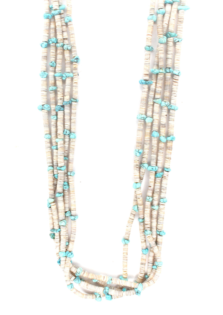 5 Strand Turquoise & White Necklace