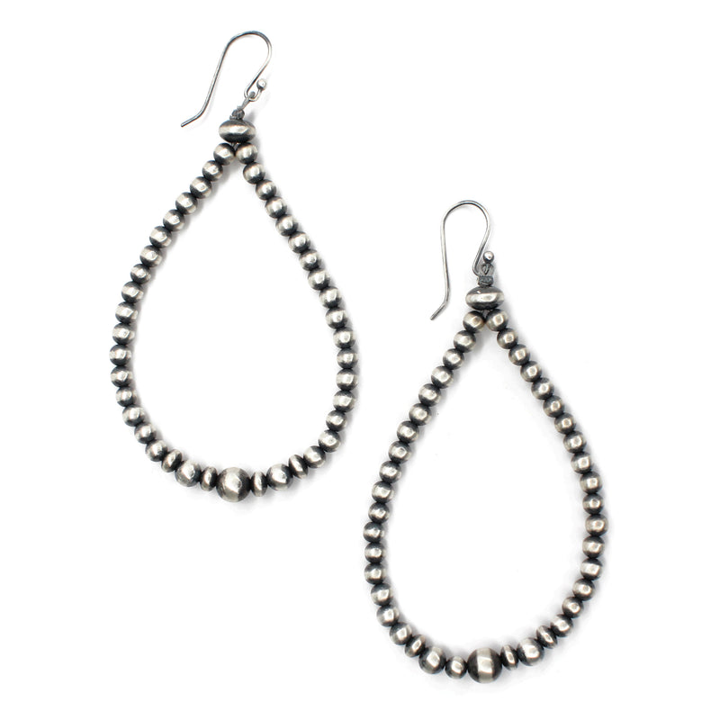 "3 1/2"" Navajo Pearl Drop Hoop Earrings"