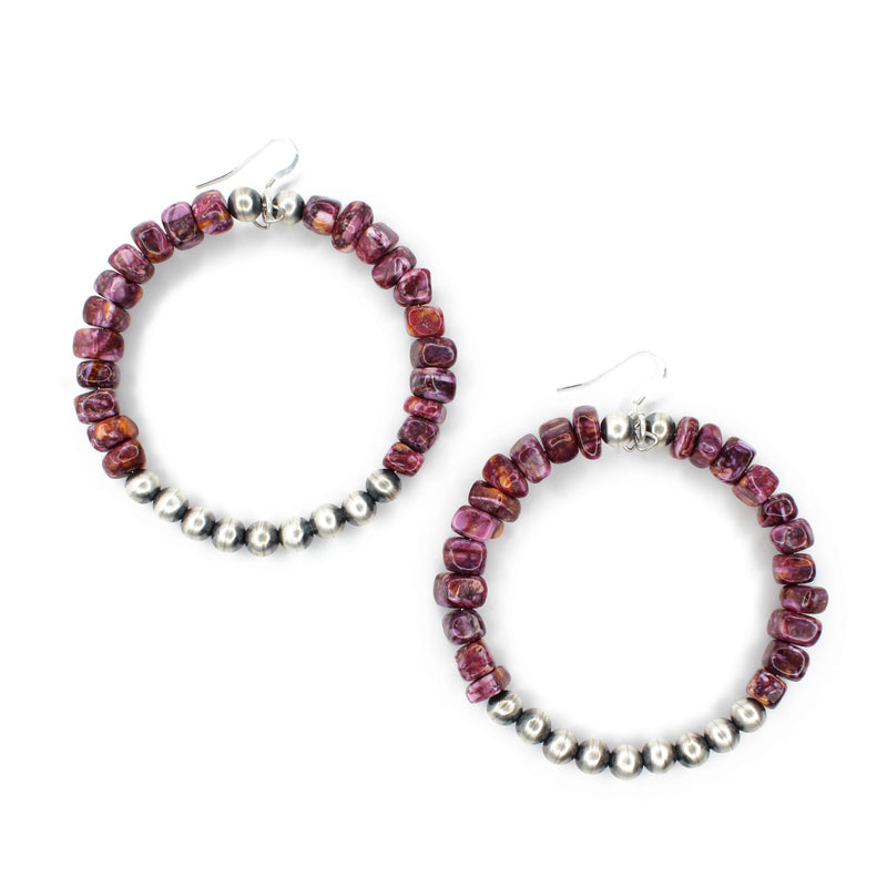 Purple Spiny Oyster Navajo Pearl Hoops