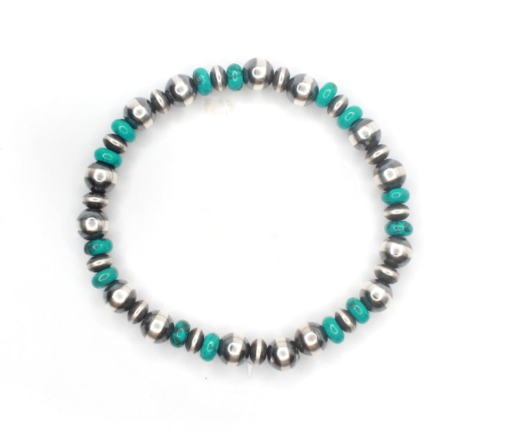 Navajo Pearl Stretch Bracelet - Turquoise