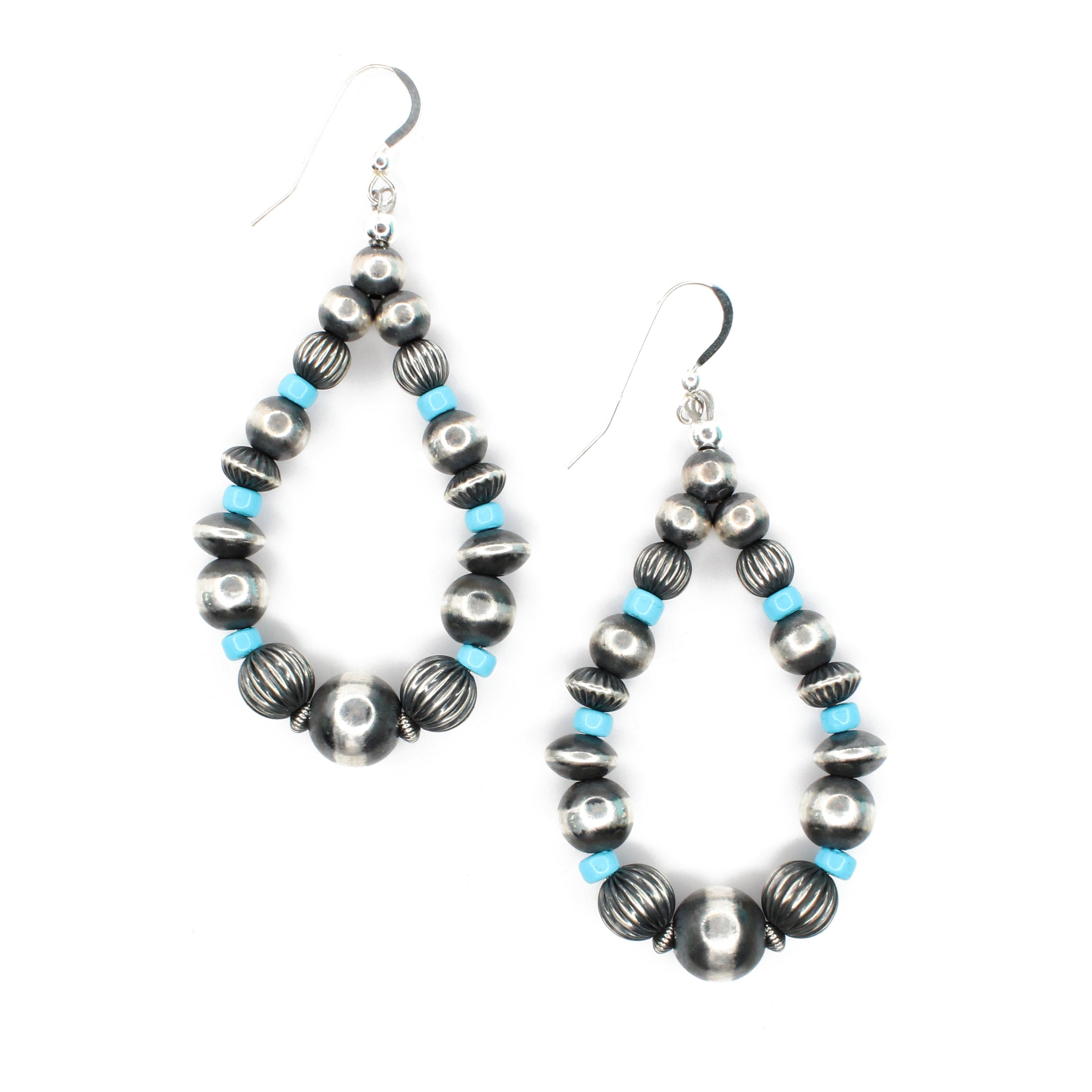 "3"" Navajo Pearl Earrings - Turquoise"