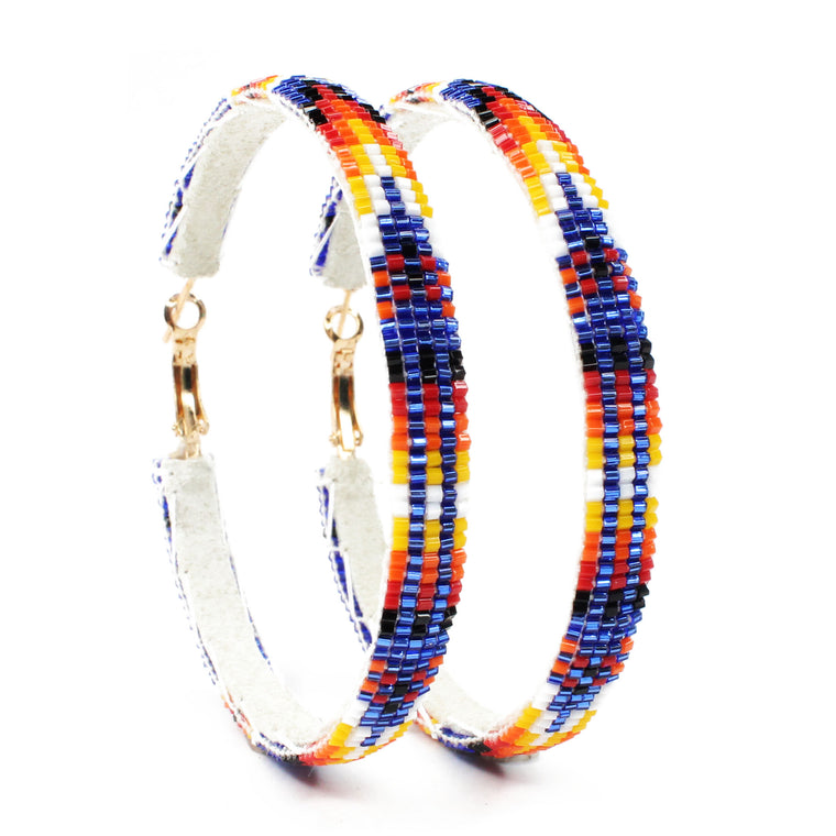 Navajo Beaded Hoops - Extra Large