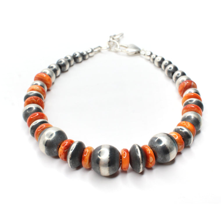 Navajo Pearl Bracelet with Clasp - Orange Spiny Oyster