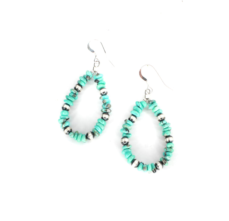 "2"" Turquoise and Navajo Pearl Earrings"