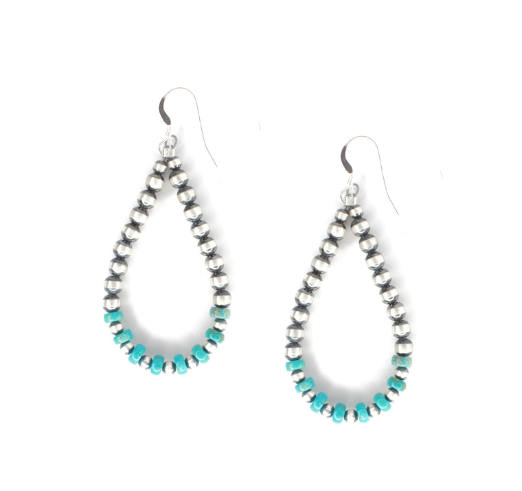 "2 1/2"" Turquoise and Navajo Pearl Earrings"