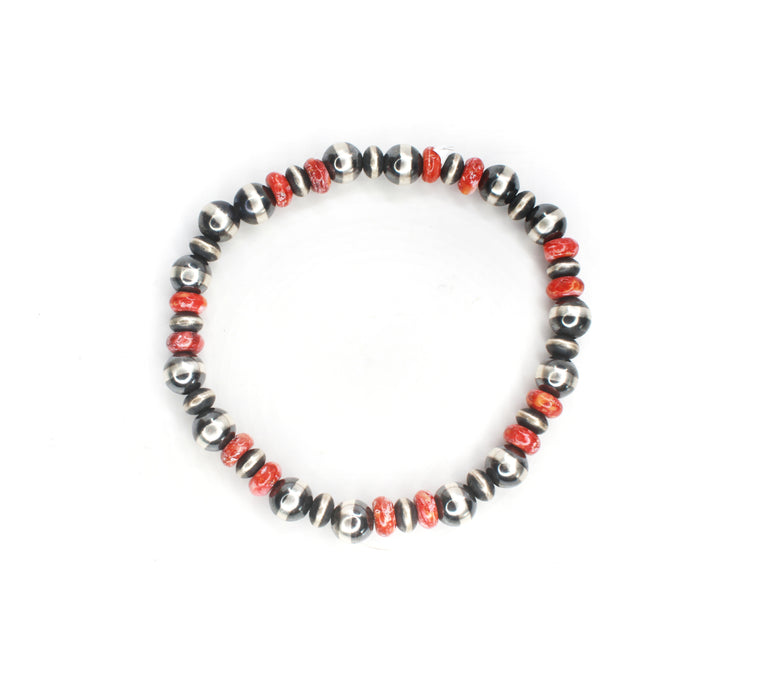 Navajo Pearl Stretch Bracelet - Red Spiny Oyster