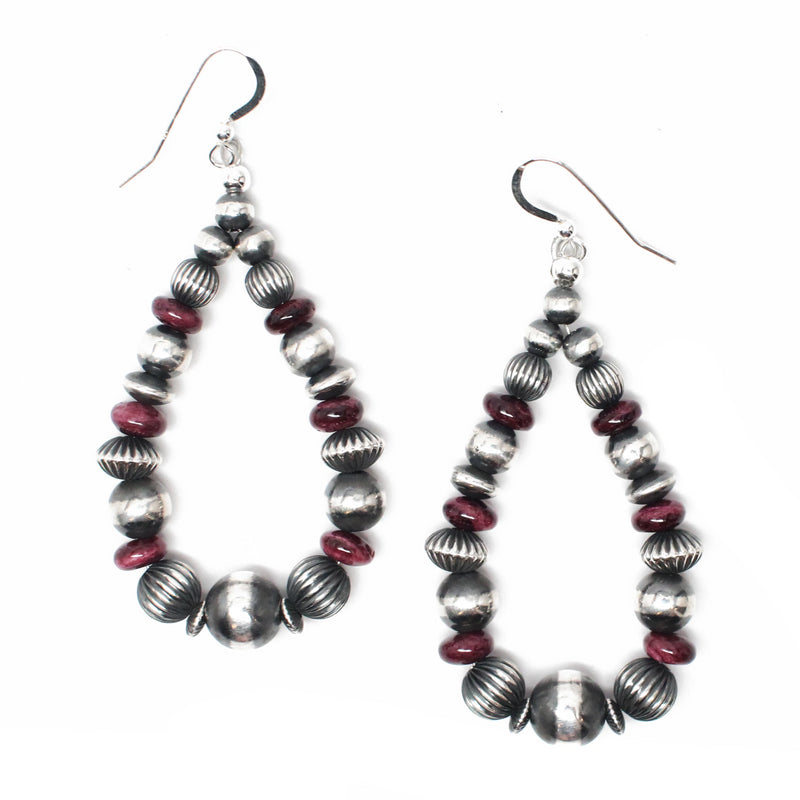 "3"" Textured Navajo Pearl Earrings - Purple Spiny Oyster"