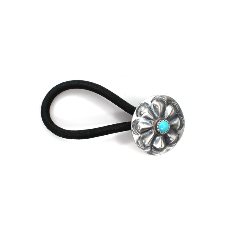 Small Concho Hair Tie with Turquoise