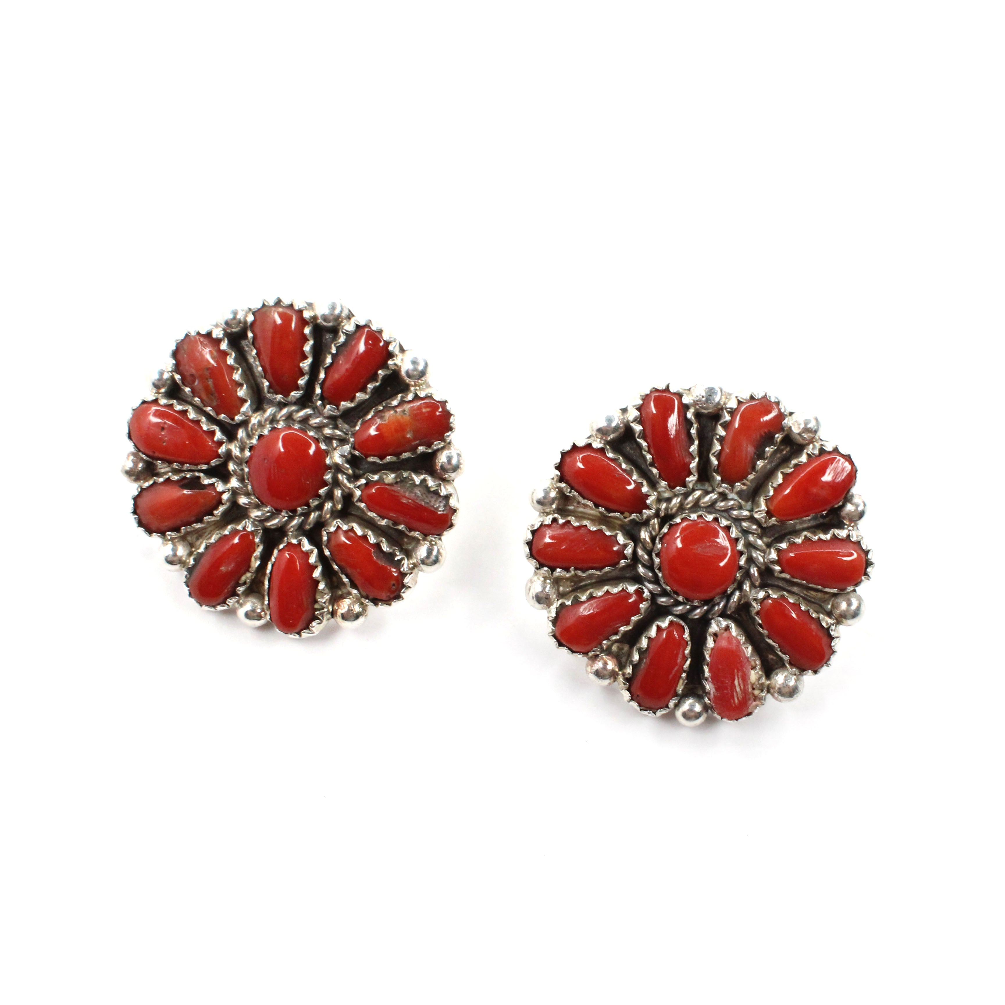 "1"" Cluster Studs - Coral"