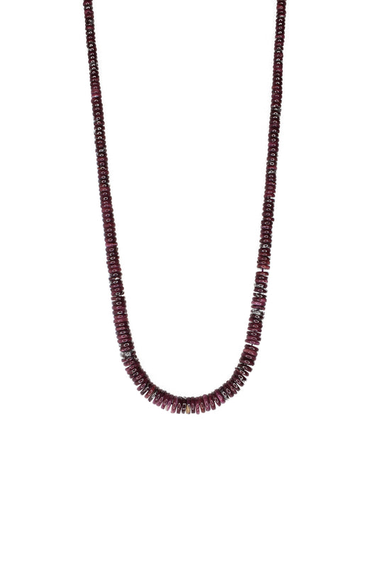 "24 1/2"" Spiny Oyster Natural Stone Necklace - Purple"