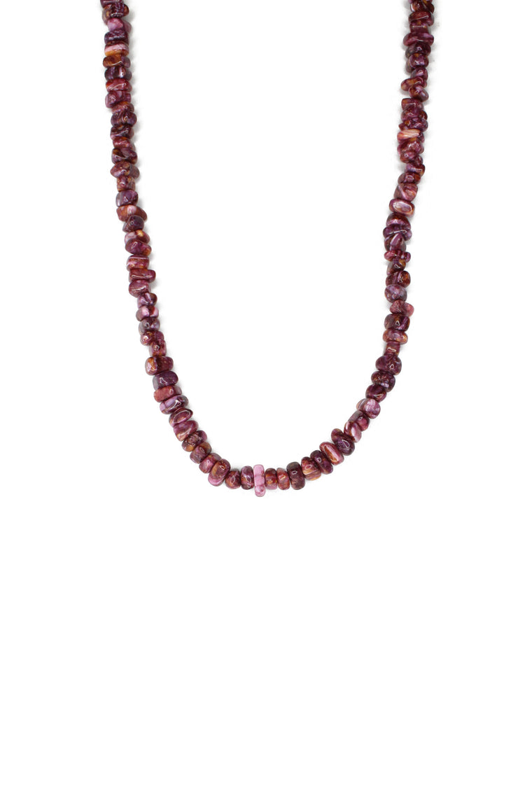 "19"" Purple Spiny Natural Stone Necklace"