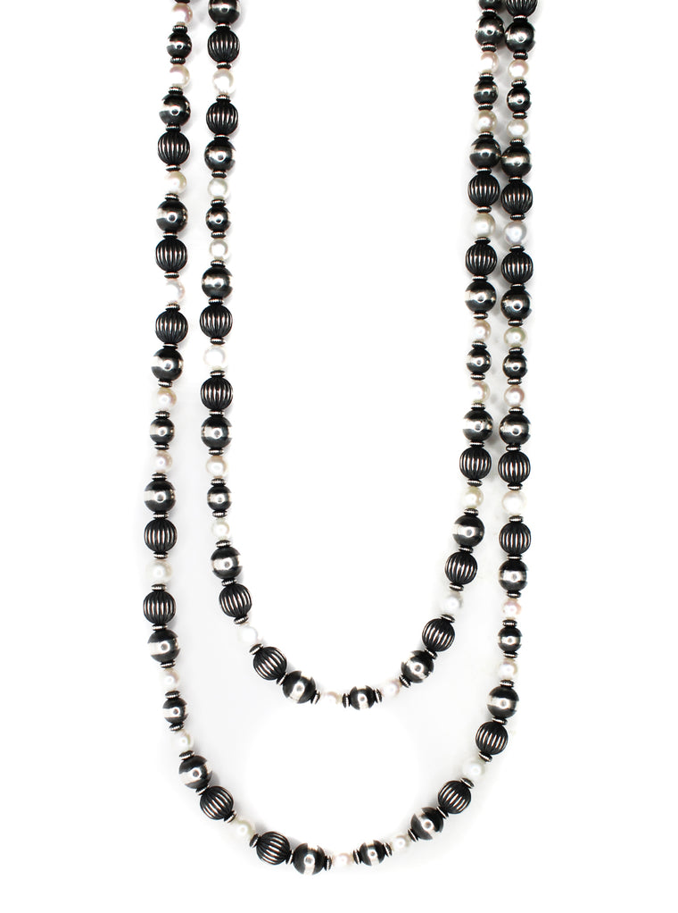 "Textured Navajo Pearls - Fresh Water Pearls (60"")"