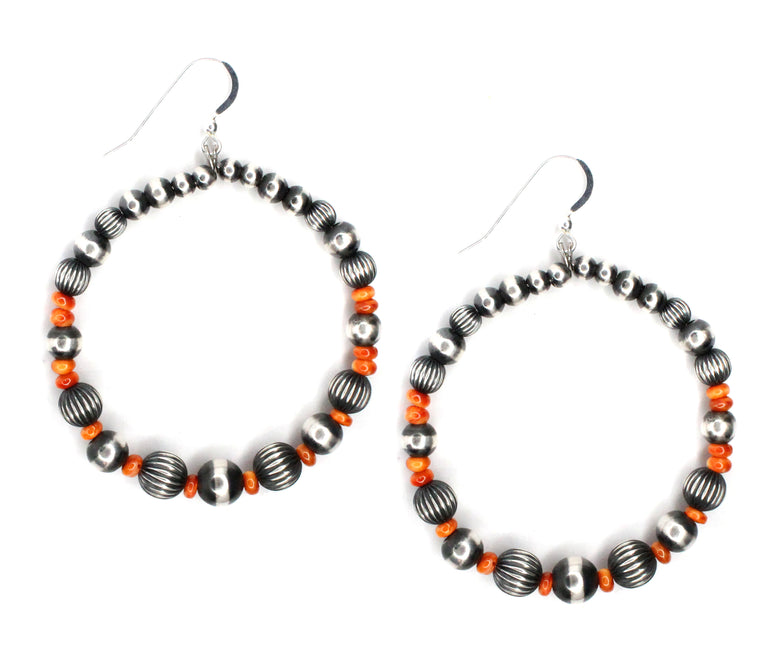 Navajo Pearl Hoops - Spiny Oyster