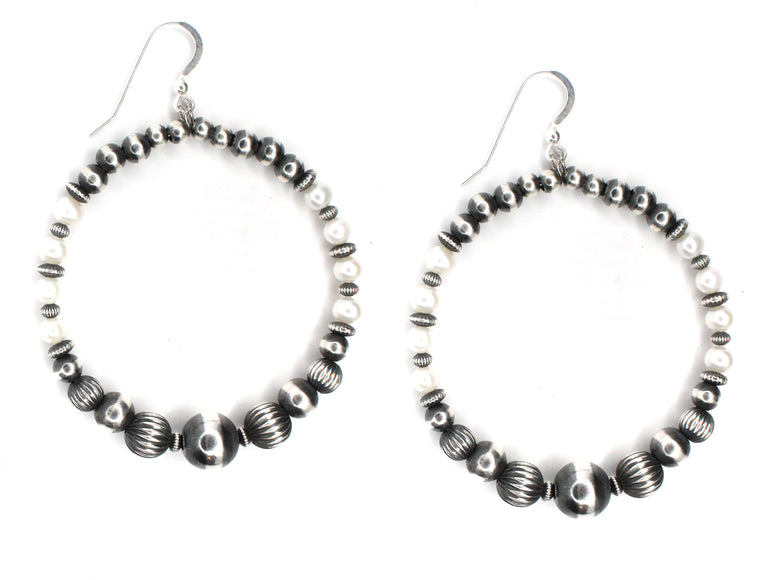 Navajo Pearl Hoops - Fresh Water Pearls