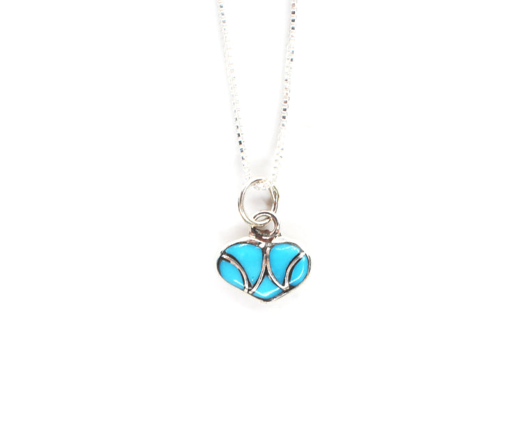 Tiny Heart Necklace - Turquoise