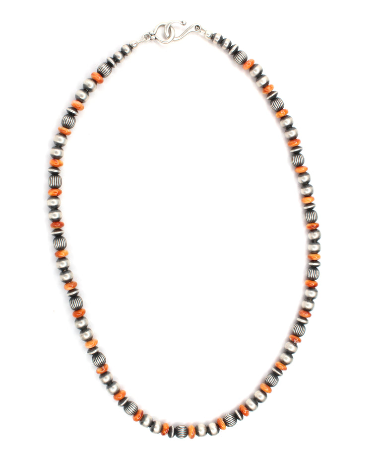 6mm Navajo Pearls - Orange Spiny Oyster