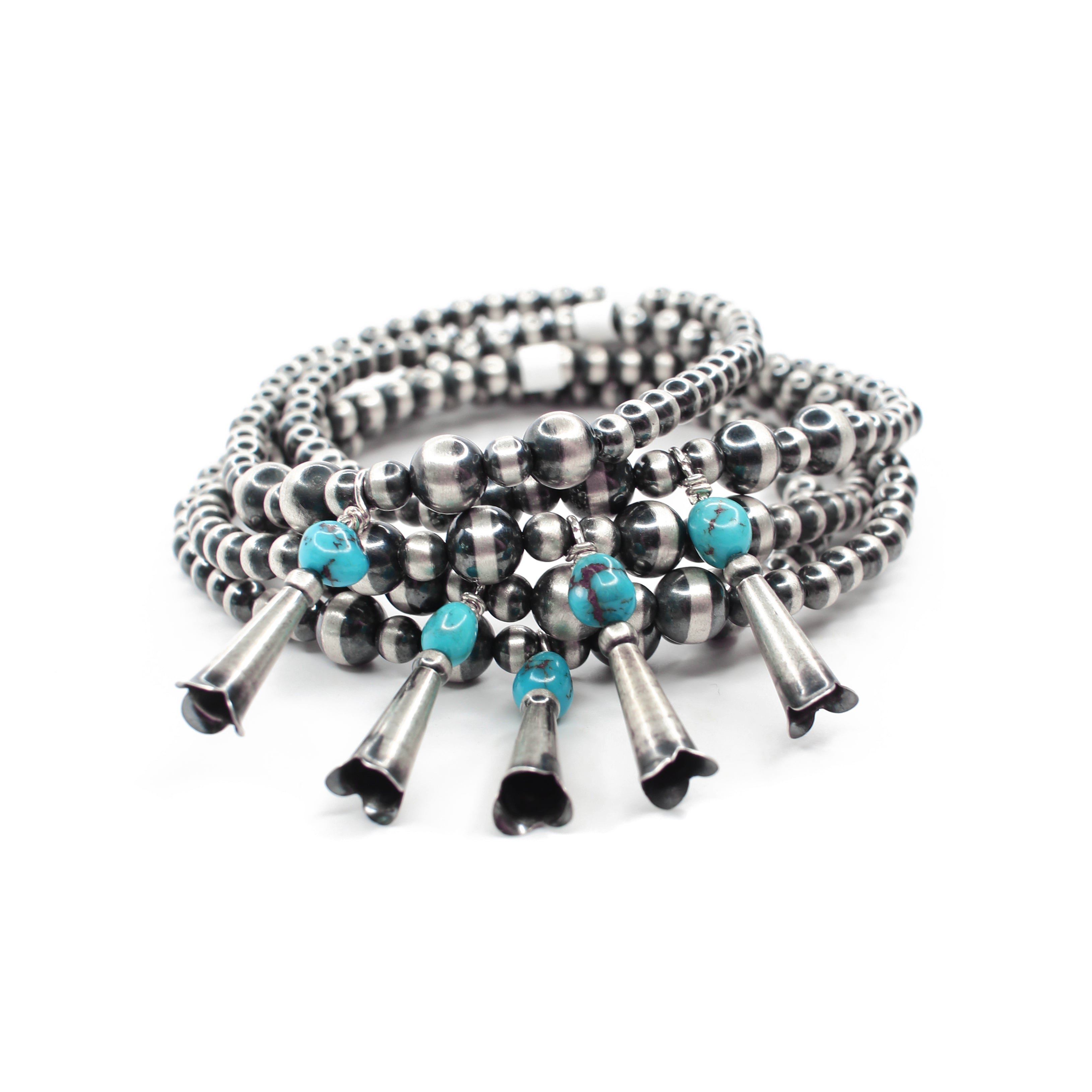 Navajo Pearl Stretch Bracelet - Turquoise & Blossom