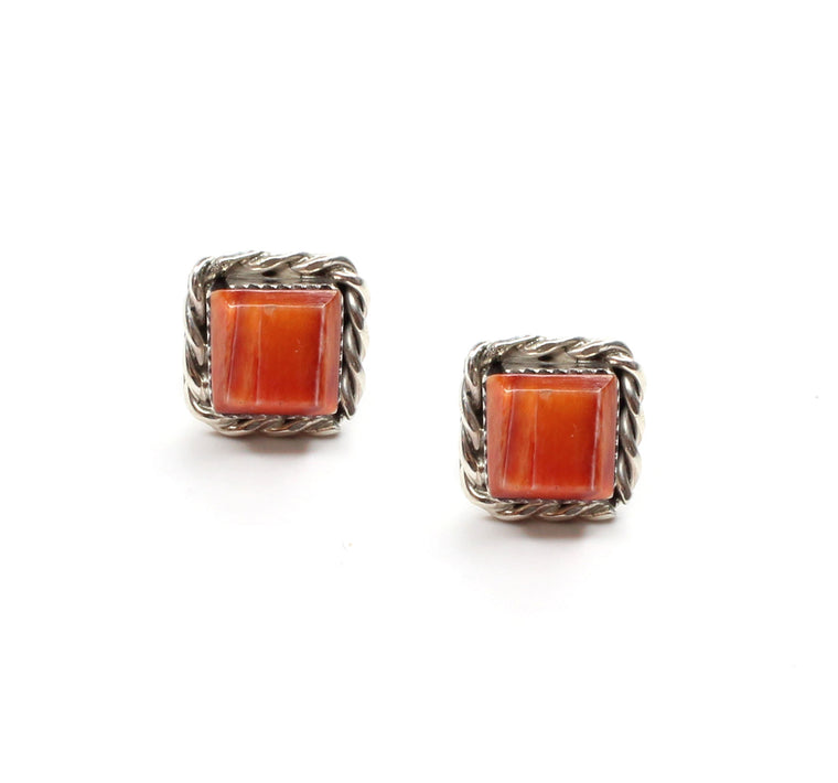 Double Twist Square Studs - Orange Spiny