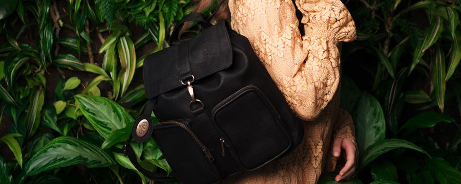 Eve Cork vegan backpack black handbag purse