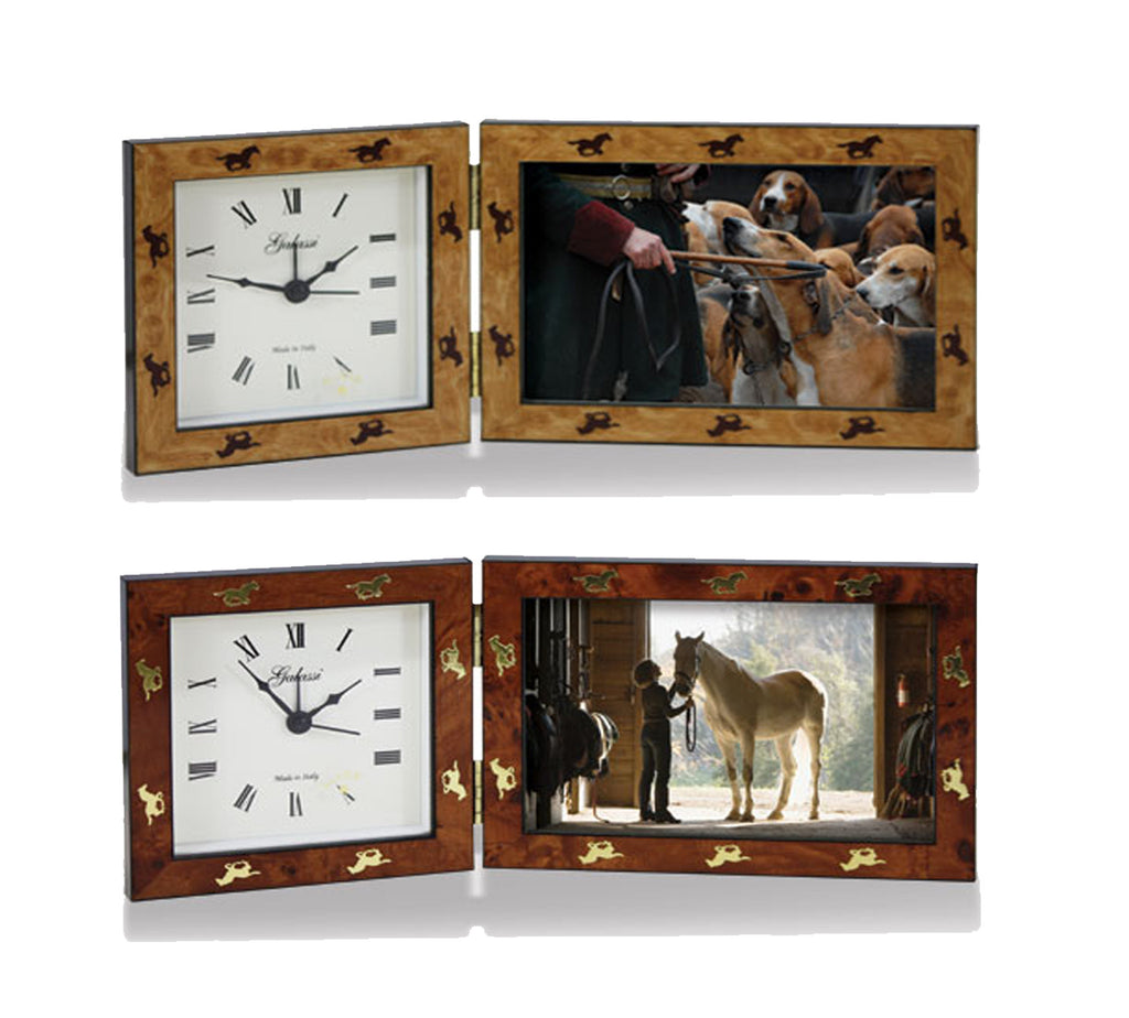Equestrian picture frames north shore saddlery north shore galloping horses wood clock frame jeuxipadfo Gallery