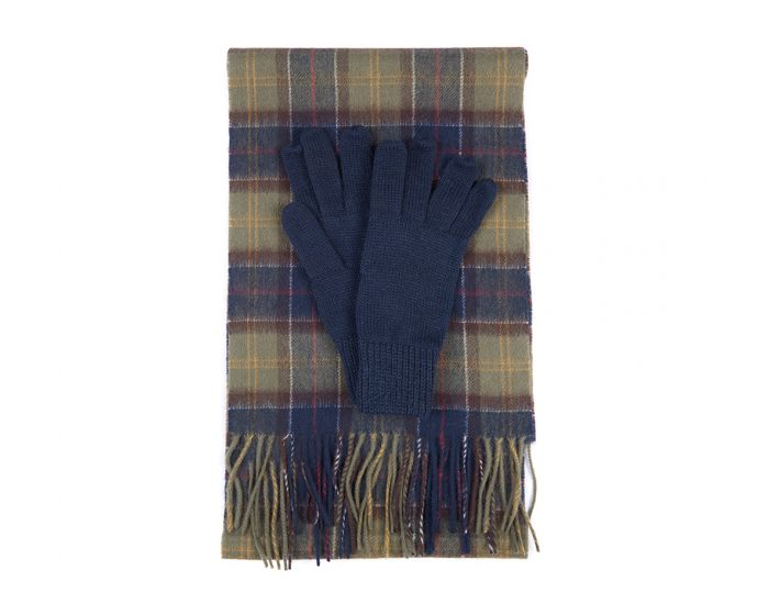 Barbour Wool Tartan Scarf & Glove Set