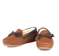 Barbour Sadie Moccasin Slippers - Camel Suede - North Shore Saddlery
